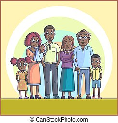 Big Happy Family. Parents with Children.