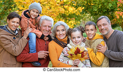 Big happy family - Portrait of a big happy family in...