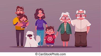 Big happy family together. Character design. Cartoon vector illustration