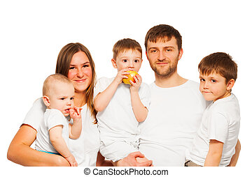 Big happy family wearing white blank t-shirts