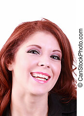 Big happy smile portrait of redhead woman