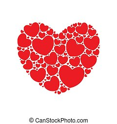 Big hart filled with small red hearts. Happy Valentine's day card. Vector illustration.