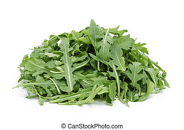 big heap of fresh arugula, isolated on white