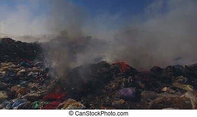 Big Heap Of Garbage Burning At Landfill - AERIAL VIEW....