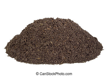 Big heap real soils of compost. There are live insects and the rotted parts of plants