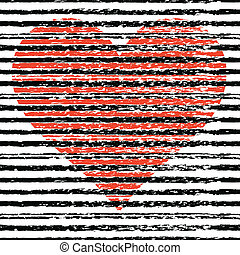 Big heart. Abstract hand drawn ink strokes. Vector illustration. Background