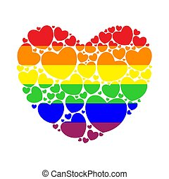 Big heart filled with small hearts. Colors of the rainbow flag.