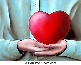 Hands cupped holding a big heart. My original hand painted illustration.