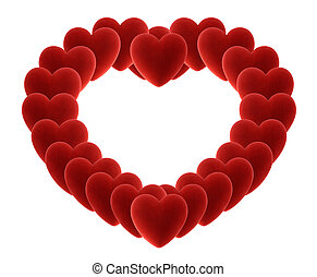 big heart of many velvet hearts isolated on white