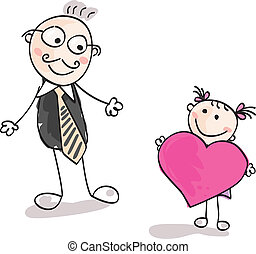 Big heart to father - Small girl give big heart to her...