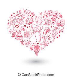 big heart wedding invitation