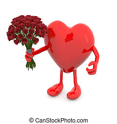 heart with arms, legs and bunch of roses