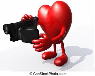 heart with arms, legs and digital video camera