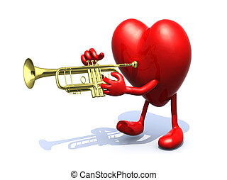 big heart with arms, legs playng trumpet