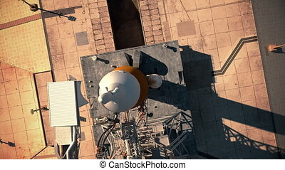Big heavy rocket (Space Launch System) on launchpad. Aerial view. 3D animation. 4K. Ultra high definition. 3840x2160.