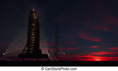 Big heavy rocket (Space Launch System) on launchpad on the background of sunrise. 3D animation. 4K. Ultra high definition. 3840x2160.