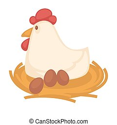 Big hen sits on straw nest with eggs - Big funny hen with...