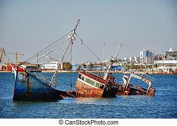 Abandoned ship wreck in port Spain Huelva-Andalusia