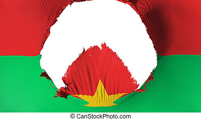 Big hole in Burkina Faso flag, white background, 3d ...
