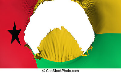 Big hole in Guinea Bissau flag, white background, 3d ...