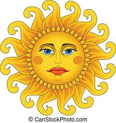 Big hot gold sun. - Big hot gold sun on white.