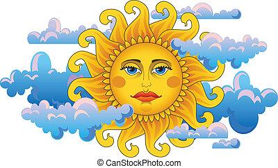 Big hot gold sun. - Big hot gold sun on clouds.