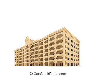 big hotel over white - isolated hotel on a white background