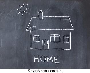 Big house and sun on a blackboard