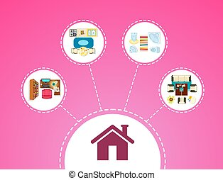 Big House Icon and Rooms on Vector Illustration