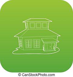 Big house icon green vector