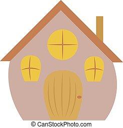 Big house, illustration, vector on white background.