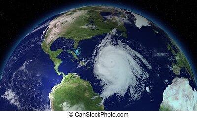 Big hurricane around North America. Satellite view. Elements...