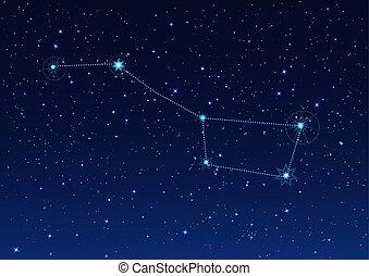 big, hvězdnatý podnebí, nést, večer, souhvězdí
