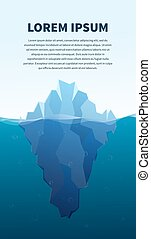 Big iceberg in the sea, concept illustration, banner with text template