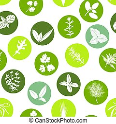 Big icon seamless pattern set of popular culinary herbs white silhouettes in color circles. Color background.