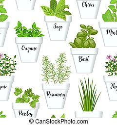 Big icon seamless pattern vector set of culinary herbs in ...