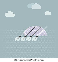 Big idea conceptual design, brain in the river, light bulbs forming oars.