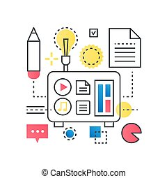 Big idea, finding solution, brainstorming, creative thinking vector concept in trendy line with gradient flat color style.