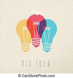 Big idea power concept color design of light bulb