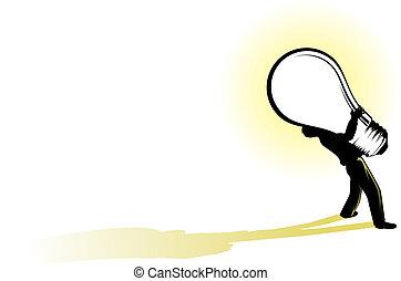 Big Idea - illustration of a business man struggling to...