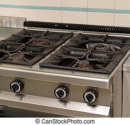 big industrial kitchen stove of school canteen - industrial...