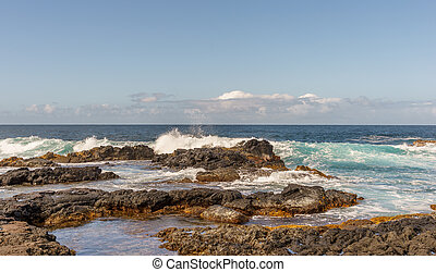 Big Island Hawaii surf - The lava filled eastern side of the...