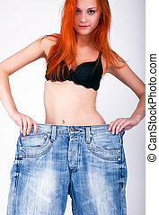 Big jeans on small woman