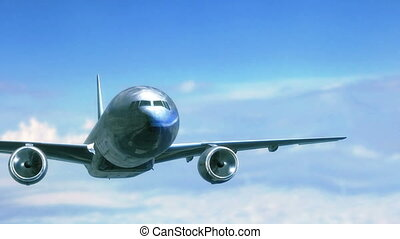 Big jet aircraft flying closeup in the sky