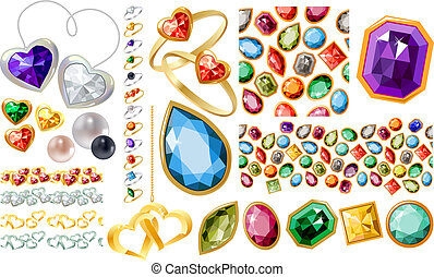 Big jewelery set with gems, pearls, gold, silver and rings