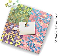 Big jigsaw piece on large puzzle of many shades - Big jigsaw...