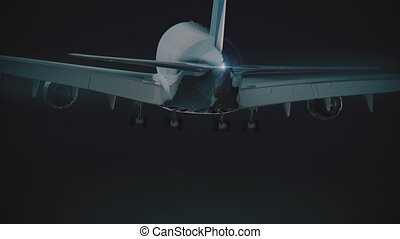 Big Jumbojet landing at night