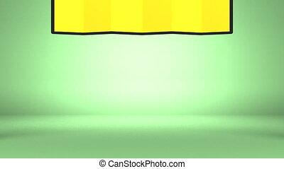 Big Kadomatsu And Golden Screen On Green Background.