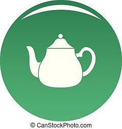 Big kettle icon vector green