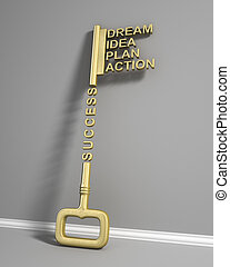 Big key with word. Success concept